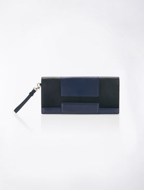 Colour-block leather clutch