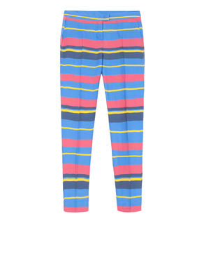 Pantaloni slim fit a righe multicolor