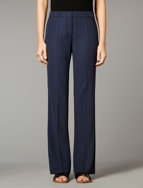 Wide wool and viscose trousers