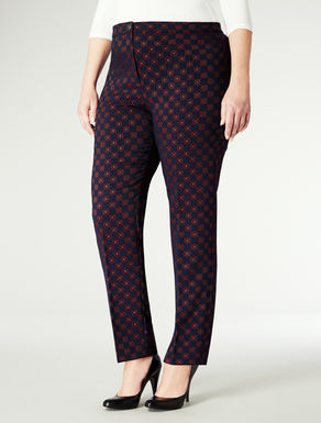 Pantaloni slim in jacquard stampato