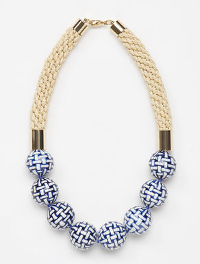 Cord necklace with spherical elements