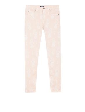 Pantaloni skinny fit con stampa laser
