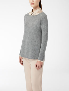 Stretch silk and wool knit shirt