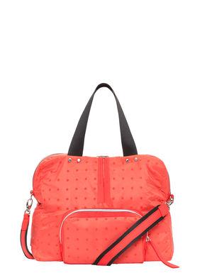 Nylon duffel bag with a polka-dot print