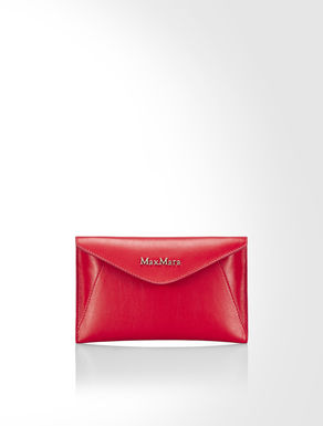 Flat leather mini clutch