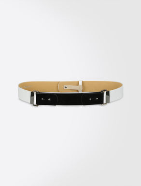 Nappa and patent leather belt