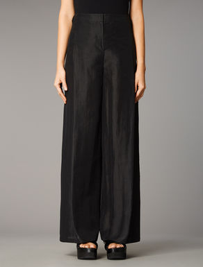 Loose-fitting cotton & ramie trousers
