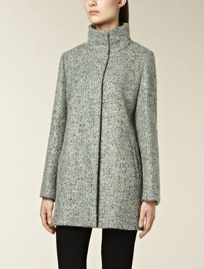 Wool and alpaca boucl_ coat