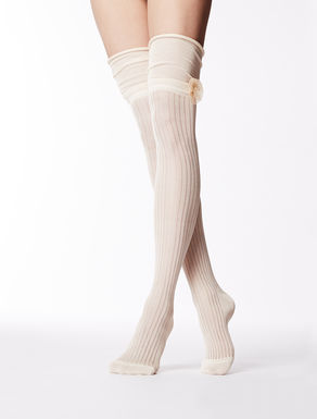 Thigh-high cotton yarn socks