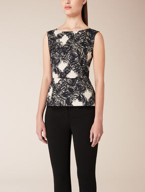 Jacquard cloqué knit top