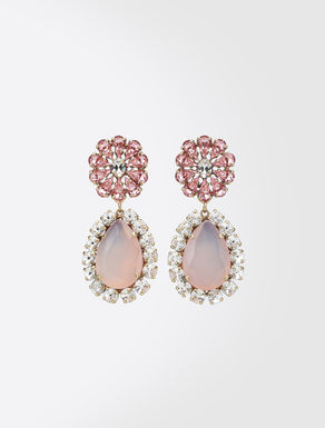 Teardrop earrings with rhinestones
