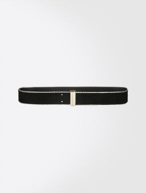 Suede and Nappa leather belt