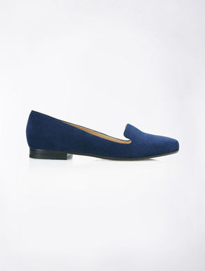 Bright blue leather slippers