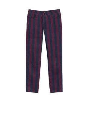 Pantaloni skinny di velluto stampato