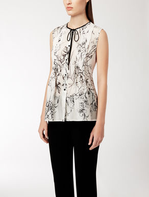 Printed silk top