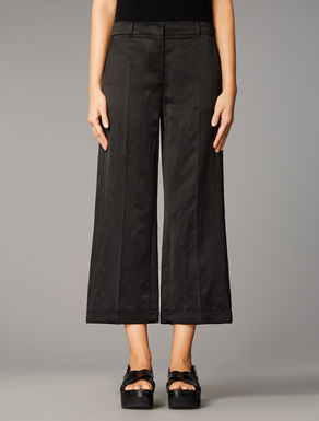 Loose-fitting viscose satin trousers