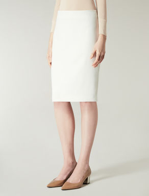 Stretch wool crêpe skirt