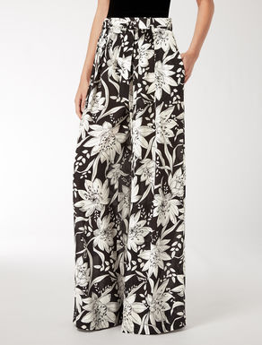 Loose-fitting silk crepe de chine trousers