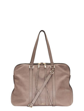 Tote bag in leather with a shoulder strap