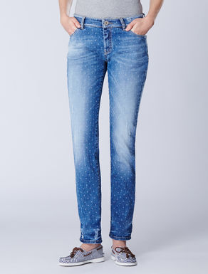 Denim trousers featuring a micro-print