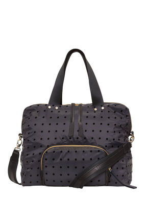 Nylon duffel bag with a polka-dot print
