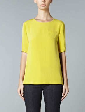 T-shirt in crepe de chine di pura seta