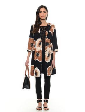 Cappotto con macro fiore stampato