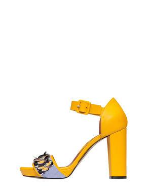 Sandali di pelle con ricamo bijou