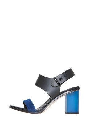 Sandali di pelle bicolore con tacco