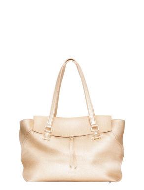 Tote bag in metallic-finish leather