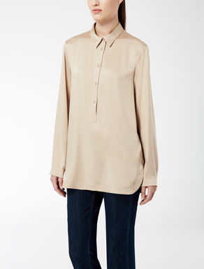 Silk satin knit shirt