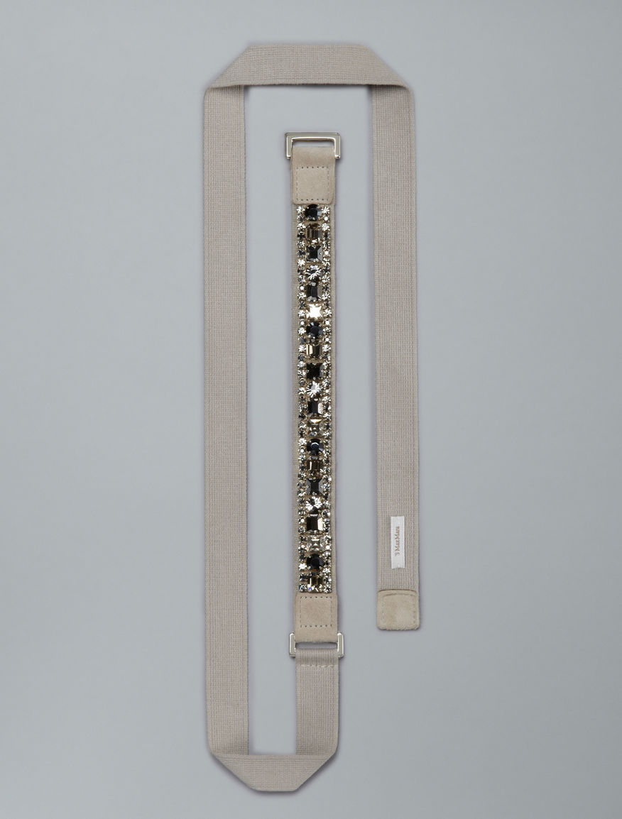 Belt with embroidered crystals