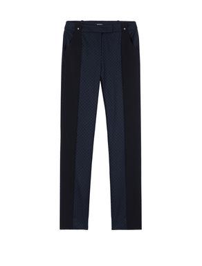 Pantaloni slim di flanella con intarsi