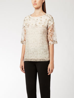 Silk organza knit top