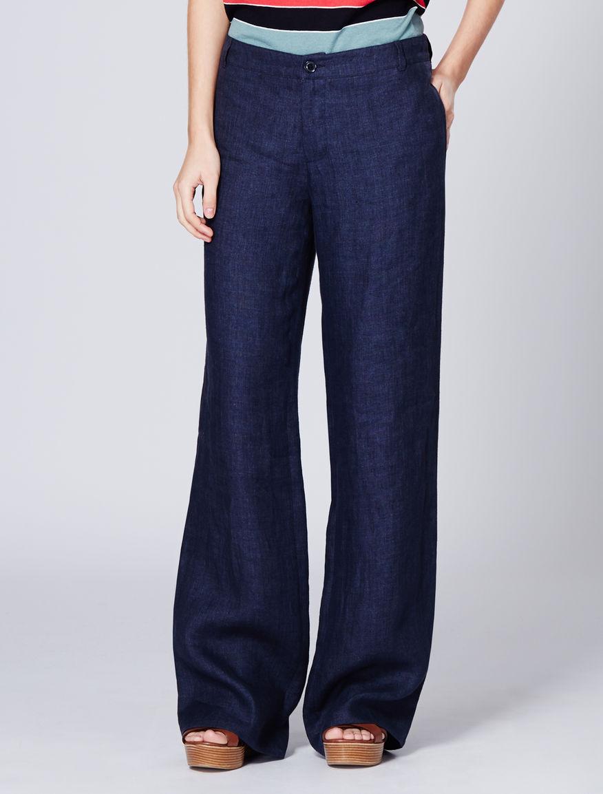 pantalon large en lin bleu michela max mara. Black Bedroom Furniture Sets. Home Design Ideas