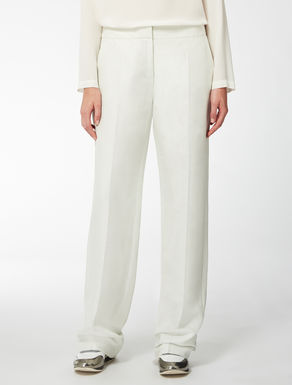 Wide linen, cotton and silk twill trousers.