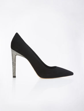 Suede pumps with rhinestones
