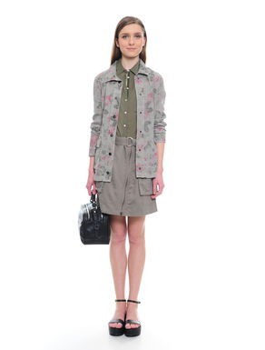 Giacca in gabardine con stampa rose