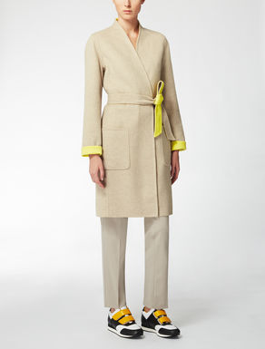 Reversible camel, wool and angora coat