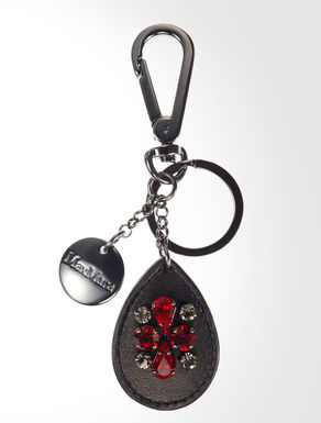 Leather key ring with rhinestones