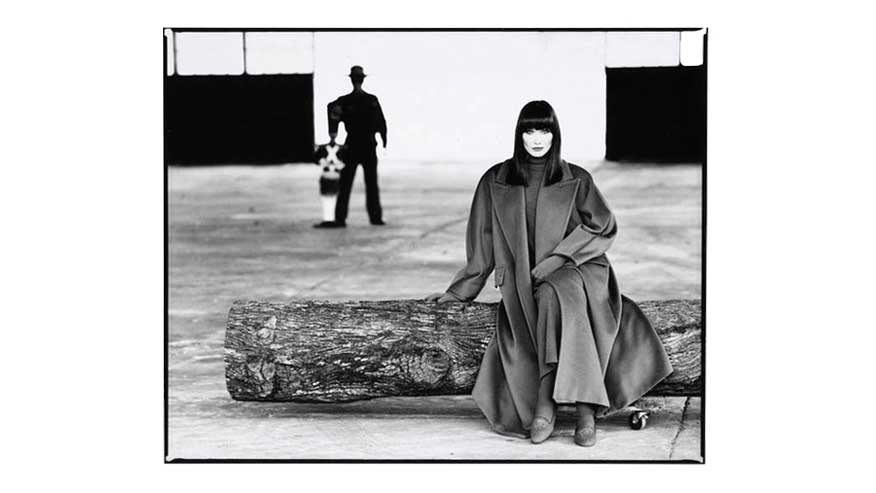 Carla Bruni models at the Max Mara Fall/Winter 1993-1994 campaign photographed by Max Vadukul