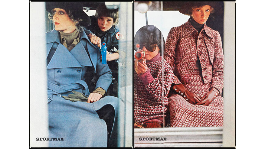 The Sportmax advertising campaigns Fall/Winter 1970 and 1971 by photographer Sarah Moon