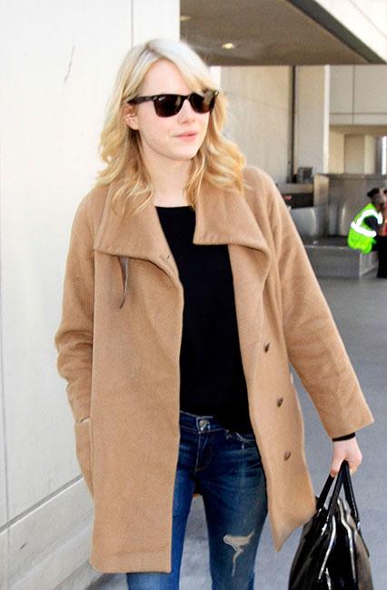 Emma Stone wearing Max Mara camel coat
