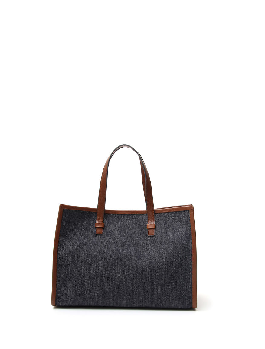 Shopping bag in denim e pelle