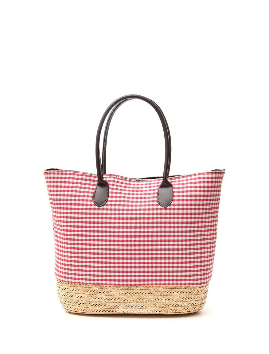 Shopping bag in tela e paglia