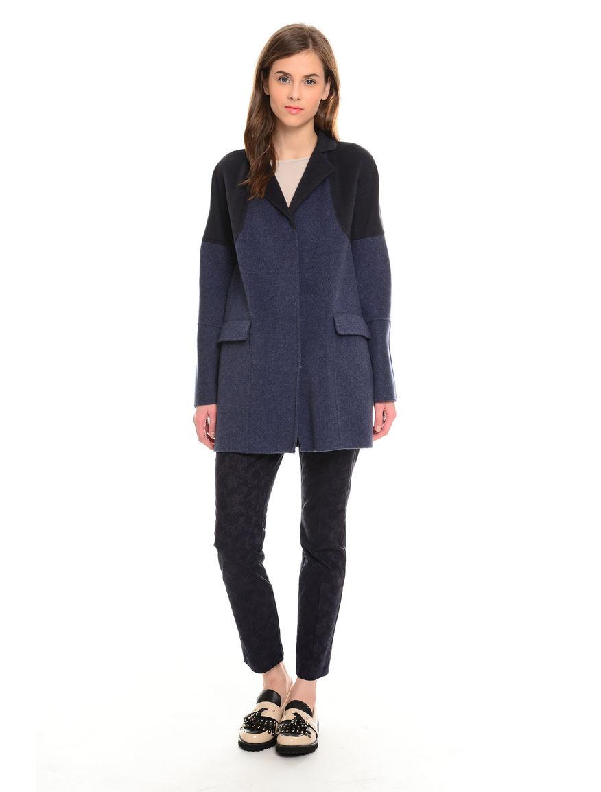 Cappotto bicolore in lana