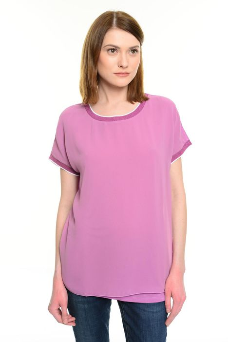 T-shirt in jersey e voile