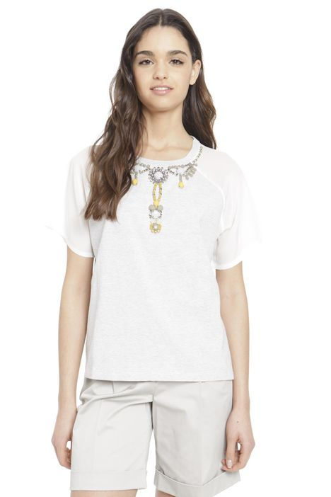 T-shirt in jersey di cotone e seta
