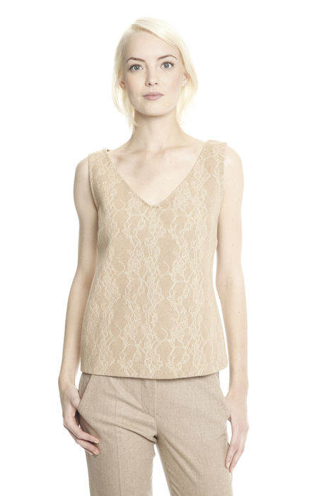 Top in jersey con pizzo