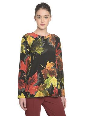 Blusa con stampa foglie